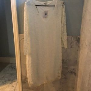 NWT Guess white lace long sleeve dress